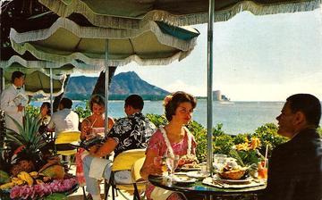 Coral Lanai Terrace, Halekulani Hotel, Waikiki | Postcards