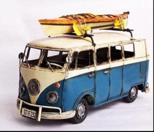 1963 Blue VW Type I with Kayak | Model Cars