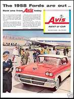 The 1958 FORDS Are Out ... Rent One From Avis Today | Print Ads