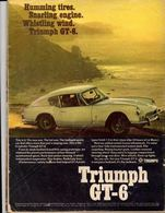 Humming Tires. Snarling Engine. Whistling Wind. Triumph GT-6. | Print Ads