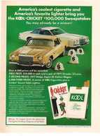 America's Coolest Cigarette And America's Favorite Lighter Bring You The Kool-Cricket® $100,000.00 Sweepstakes  | Print Ads