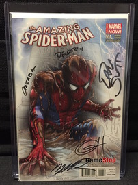 Amazing Spider-Man Vol. 3 No. 1 Gamestop Sketch-Fade Variant | Comics and Graphic Novels | Signed by Greg Horn, Dan Slott, Humberto Ramos, Victor Olazaba and Edgar Delgado.