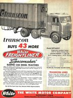 Transcon Buys 43 More White/Freightliner 'Space-Maker' Sleeper Cab Diesel Tractors. | Print Ads