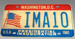 Presidential Inauguration Washington D.C. License Plate | License Plates | Presidential Inauguration Washington DC License Plate