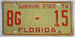 Florida Passenger License Plate | License Plates | Old 1974 Florida License Plate