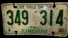 New Hampshire Passenger License Plate | License Plates | April, 2001 New Hampshire passenger license plate.