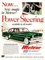 Now ... New Magic In Meteor! Power Steering Available In All Models. | Print Ads