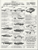 Price List Assembled Promotional Cars 1/25 Scale | Brochures and Catalogs