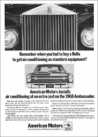 American Motors Installs Air Conditioning At No Extra Cost On The 1968 Ambassador. | Print Ads