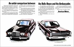 An Unfair Comparison Between The Rolls Royce And The Ambassador | Print Ads
