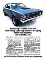 Introducing A Sensible Alternative To The Money-Squeezing, Insurance-Stranglng Muscle Cars Of America. The Hornet SC/360 | Print Ads