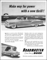 "1953 Buick Roadmaster Convertible Ad ""Make way for power with a new thrill"" 