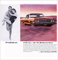 """1964 Buick Wildcat Ad """"Everybody out of the rut . . . the '64 Buicks are here!""""   Print Ads"""