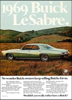 "1969 Buick LeSabre Ad ""No wonder Buick owners keep selling Buicks for us."" 