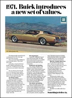 "1971 Buick Riviera Ad ""Buick introduces a new set of values."" 