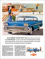 """1958 Chevrolet Ad """"Excitement Rides With You"""" 