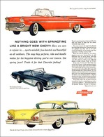 """1958 Chevrolet Ad """"Nothing Goes With Springtime Like A Bright New Chevy"""" 