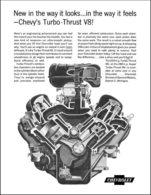 1958 Chevrolet 348 V8 engine, black & white | Print Ads