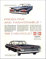 """1959 Chevrolet Ad """"Fresh, Fine and Fashionable!"""" 