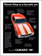 """1968 Camaro Z-28 Ad """"Closest thing to a Corvette yet"""" 