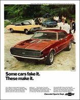 """1968 Camaro, Chevelle, and Corvette Ad """"Some cars fake it, these cars make it"""" 