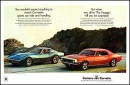 """1968 Camaro and Corvette Ad """"You wouldn't expect anything to match Corvette's sports car ride and handling . . ."""" 