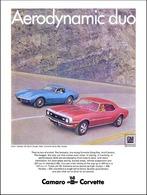 "1968 Camaro and Corvette Ad ""Aerodynamic duo"" | Print Ads"