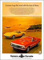 "1968 Camaro and Corvette Ad ""Camaro hugs the road with the besto f them"" | Print Ads"