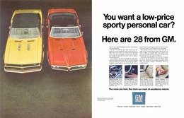 """1968 Chevrolet/GM Corporate ad, """"You want a low-price sporty personal car?""""...""""  