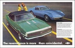 1968 Chevrolet Camaro sport coupe, green/Corvette sports coupe, blue | Print Ads