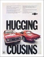 1968 Chevrolet Camaro SS sport coupe/Corvette convertible w/ removable hardtop, Hugging Cousins | Print Ads