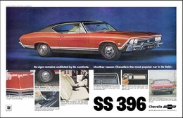 1968 Chevrolet Chevelle SS396 sport coupe, red | Print Ads