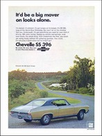 1968 Chevrolet Chevelle SS396 sport coupe, gold/black | Print Ads
