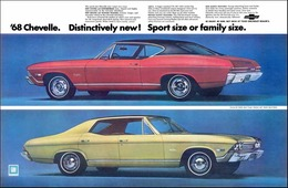 1968 Chevrolet Chevelle Malibu, red sport coupe/gold 4-door hardtop | Print Ads