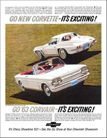 1963 Chevrolet Corvette sport coupe/Corvair Monza Spyder convertible, It's Exciting!  | Print Ads