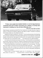 """1964 Corvette Ad """"if there were some people who doubted . . ."""" 