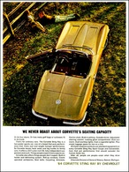 """1964 Corvette Ad """"We never boast about the Corvette's seating capacity."""" 