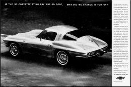 """1964 Corvette Ad """"If the '63 Corvette Sting Ray was so good, why did we change it for '64?"""" 