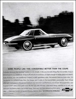 """1964 Corvette Ad """"Some people like tis convertible better than the coupe."""" 