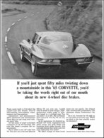 1965 Corvette sport coupe, black & white | Print Ads