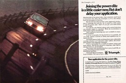 The Triumph 2.5 P. I. Joining The Power Elite Is A Little Easier Now. But Don't Delay Your Application. | Print Ads