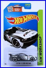 Custom '12 Ford Mustang | Model Cars | Hot Wheels 2015 Collector # 240/250 - HW Workshop / HW Drift Race - CUSTOM '12 FORD MUSTANG - Black - Kmart Collector's Day September 5, 2015