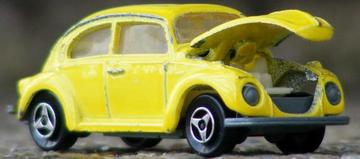 Volkswagen 1302 | Model Cars | Yellow Majorette Volkswagen 1302 with bonnet that opens