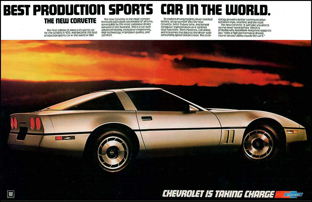 1984 corvette ad the best production sports car in the world print ads hobbydb. Black Bedroom Furniture Sets. Home Design Ideas