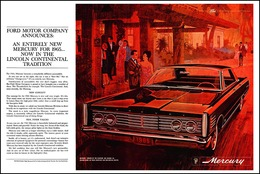Ford Motor Company Announces: An Entirely New Mercury For 1965 ... Now In The Lincoln Continental Tradition   Print Ads