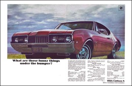 """1968 Cutlass W-31 - """"What Are Those Funny Things Under The Bumper?"""".......   Print Ads"""