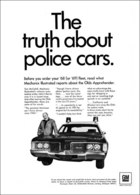 """1968 Delmont 88 Police Apprehender Ad """"The Truth About Police Cars""""   Print Ads"""