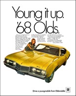 """1968 Oldsmobile Cutlass S , """"Young It Up""""   Print Ads"""