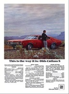 """1968 Oldsmobile Cutlass S Holiday Coupe, """"This is the Way It Is""""   Print Ads"""