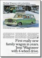 First Really New Family Wagon In Years. 'Jeep' Wagoneer With 4-Wheel Drive. | Print Ads